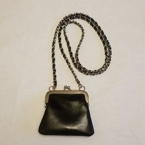 EXPRESS MINI QUILTED CHAIN CROSSBODY BAG, BLACK.